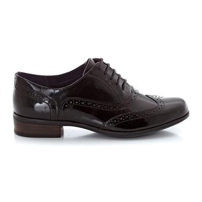 Femmes Clarks Noir Cuir verni Chaussures Netley rose 8 E//42