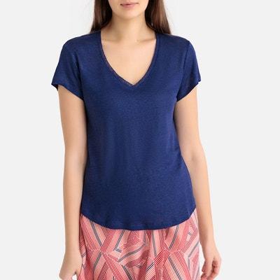 18e5c83e9b1 Tee shirt en lin col V manches courtes IKKS