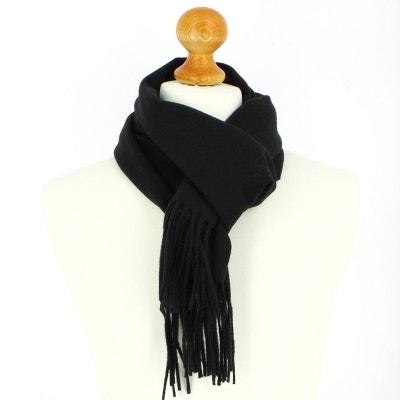 Echarpe noir luxe unie en laine d Australie, 37x180cm Echarpe noir luxe  unie en 3589266f21d