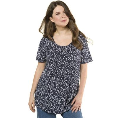 0e55c4a7e3725 T-shirt col rond imprimé fleurs, manches courtes T-shirt col rond imprimé