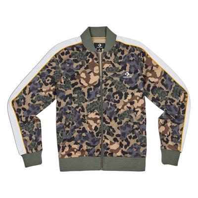 7fe93a6d91e20f Straight Cut Zipped Camouflage Print Jacket CONVERSE