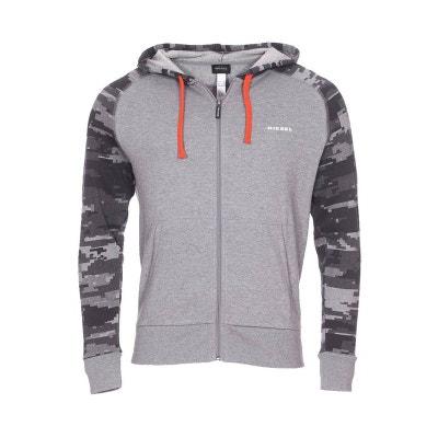 1530db0bb79bc8 Sweat zippé à capuche Diesel Brianz en coton chiné à imprimé camouflage  géométrique Sweat zippé à