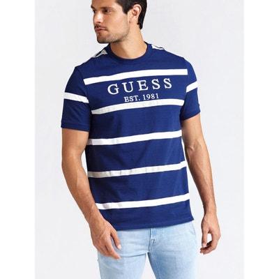 799d8aca579 T-shirt Motif A Rayures Logo GUESS