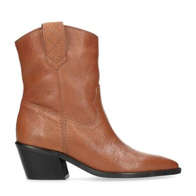 299c2aa4a2d Bottines en cuir style western avec talon Bottines en cuir style western  avec talon SACHA