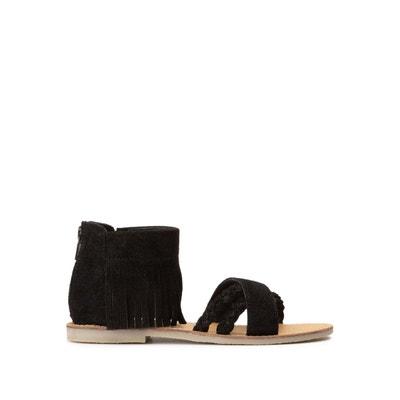 Sandales plates LA REDOUTE chaussures a franges noires en