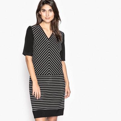 094ccb1d71d5f51 Платье в полоску прямое с рукавами 3/4 Платье в полоску прямое с рукавами 3
