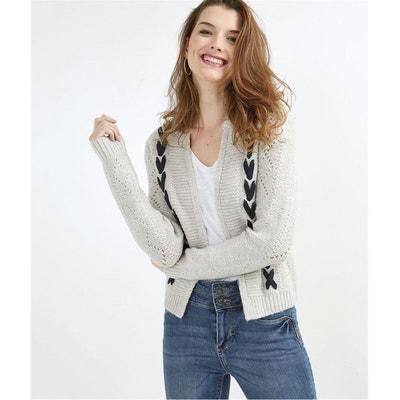 608f6eebe386 Gilet en tricot gris fantaisie GRAIN DE MALICE