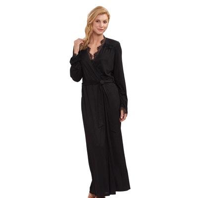 fbafa183bda1a7 Robe de chambre satin noir   La Redoute