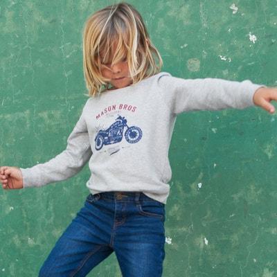 Sweater met ronde hals en moto print, in molton, 3-12 jaar Sweater met ronde hals en moto print, in molton, 3-12 jaar LA REDOUTE COLLECTIONS