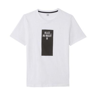 f9caf3ab74448 T-shirt imprimé devant, col rond manches courtes T-shirt imprimé devant,