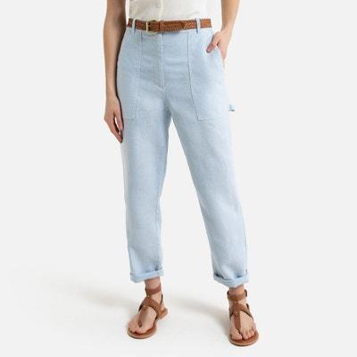 Rechte broek in linnen, timmerman stijl Rechte broek in linnen, timmerman stijl LA REDOUTE COLLECTIONS