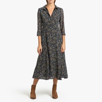 Lang, bedrukte jurk met lange mouwen Celine Lang, bedrukte jurk met lange mouwen Celine GARANCE PARIS