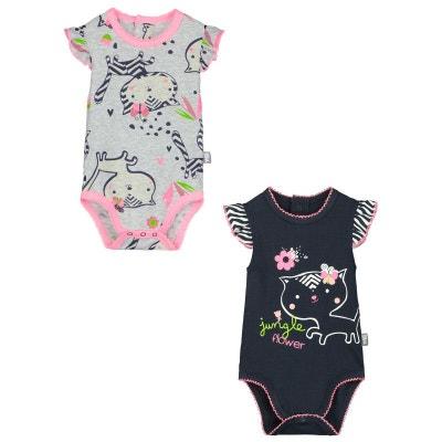 e523abc6fa8f3 Lot de 2 bodies manches courtes bébé fille Jungle Flowers PETIT BEGUIN