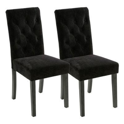 Lot de 2 Chaises moderne velours noir dossier capitonné pieds bois Lot de 2  Chaises moderne de0d8d892f02