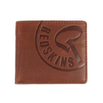 2d063d5b2a8d Portefeuille italien 2 volets Redskins en cuir chocolat gravé REDSKINS