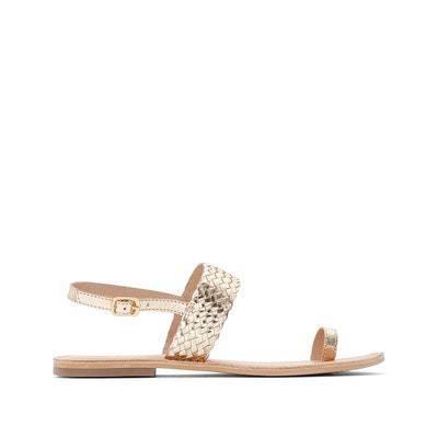 Sandales dorées en cuir LA REDOUTE COLLECTIONS eb87588395f
