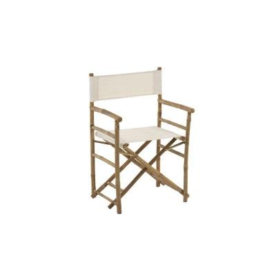 Chaise De Jardin Pliante Avec Accoudoirs En Bambou Et Tissu Blanc
