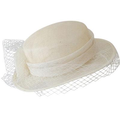 89742d7f75 Chapeau de cérémonie blanc ivoire CHAPEAU-TENDANCE