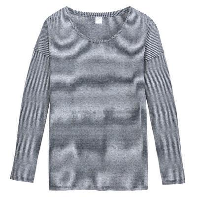 cfc607a41cd5e T-shirt encolure ronde manches longues en lin T-shirt encolure ronde  manches longues