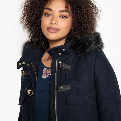 Manteau bleu marine femme capuche