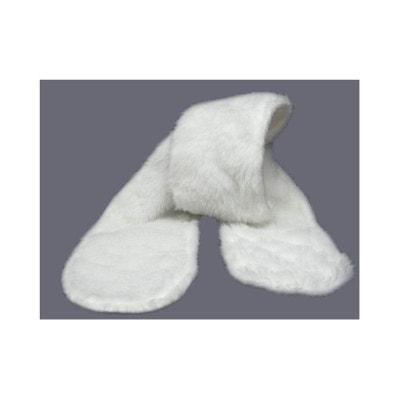 Echarpe blanche baptême, en fausse fourrure POUSSIN BLEU 62a1442b6bc