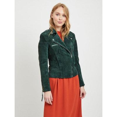 Veste cuir femme vert fonce