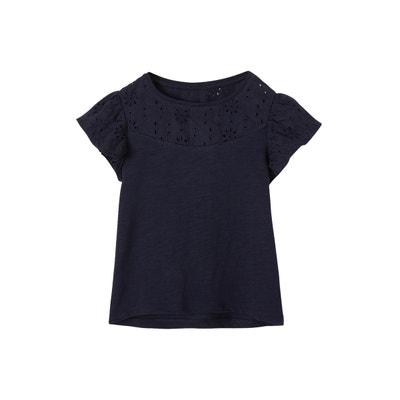 e092530a458fc T-shirt fille en broderie anglaise et manches à volants T-shirt fille en