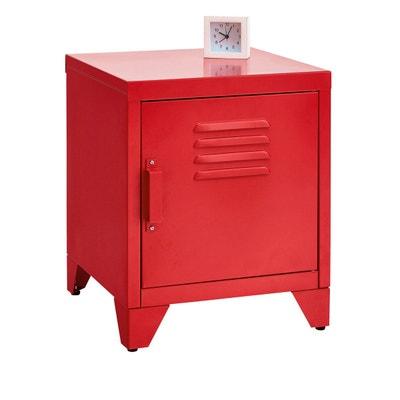 table de chevet métal rouge