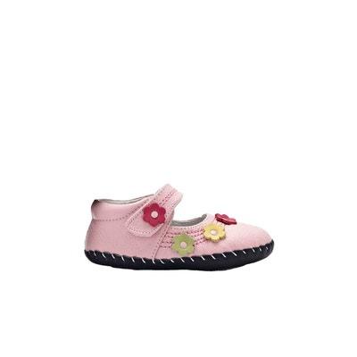 8a91b6a594a51 Chaussures premiers pas cuir souple Babies petites fleurs YXY