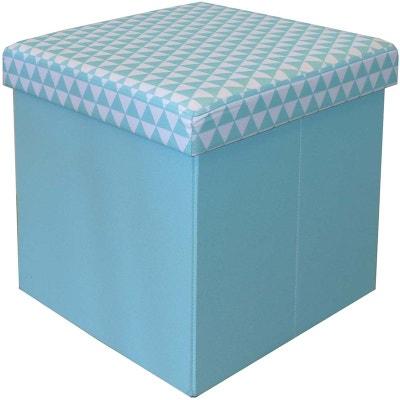 a2bfbfb12ef20d Pouf coffre carré pliable bleu scandinave Pouf coffre carré pliable bleu  scandinave JARDINDECO