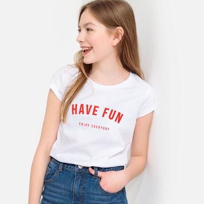 031acfe989e0f T-shirt message imprimé poitrine 10-18 ans T-shirt message imprimé poitrine