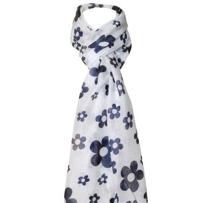 5261562897976 Foulard blanc a fleurs CHAPEAU-TENDANCE