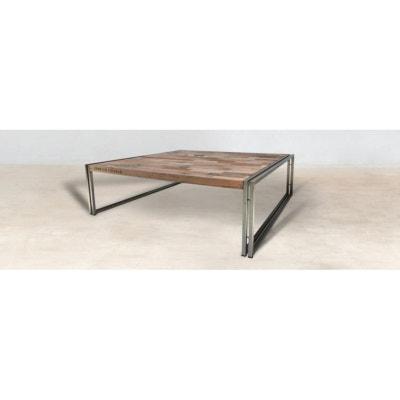 4429acd0ab0ed Table basse carrée bois recyclé 120X120 CARAVELLE Table basse carrée bois  recyclé 120X120 CARAVELLE PIER IMPORT