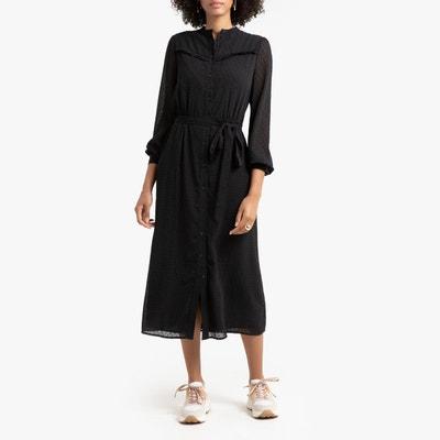 mieux choisir nouveau style de vie marque célèbre Robe chemise noire manches longues | La Redoute