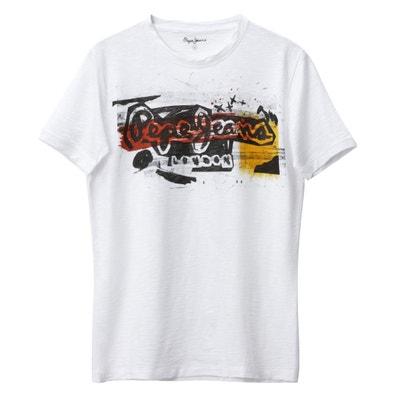 Camiseta con cuello redondo y manga corta, con estampado delante Camiseta con cuello redondo y manga corta, con estampado delante PEPE JEANS