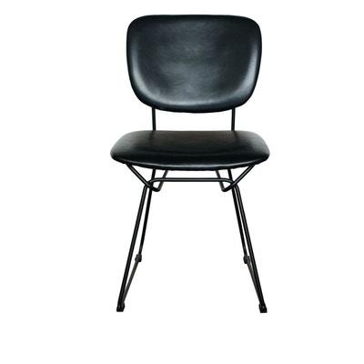 93c4490c77470 2x Chaise noire simili cuir Moana ZAGO