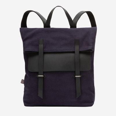 30e8e82570 Grand sac à dos en toile et cuir pour ordinateur portable avec fermeture  magnétique et bretelles