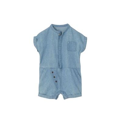768254d58ab67 Combishort bébé garçon en denim léger VERTBAUDET