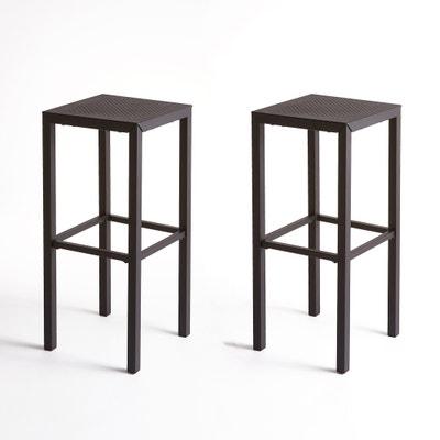 Barstoel in geperforeerd metaal, set van 2, Choe Barstoel in geperforeerd metaal, set van 2, Choe LA REDOUTE INTERIEURS