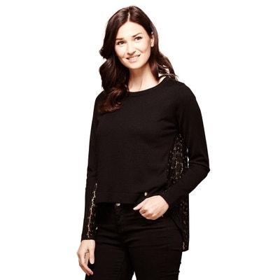 6e0ddfcb78cb3d Fine-Knit Sweater with Lace Back Fine-Knit Sweater with Lace Back YUMI