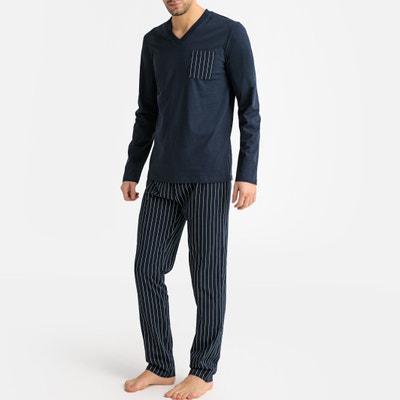 07b26a3b45a Pijama de manga larga con cuello de pico y bajo a rayas Pijama de manga  larga