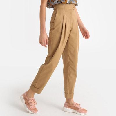 Pantalon droit à pinces taille haute à revers Pantalon droit à pinces taille haute à revers LA REDOUTE COLLECTIONS