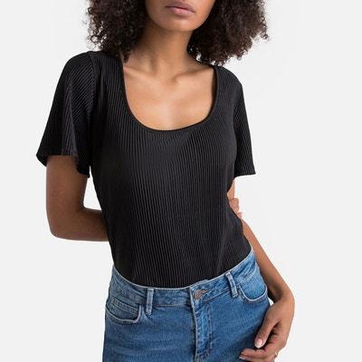 be5aef5839b51 T-shirt plissé col rond, décolleté dos T-shirt plissé col rond,