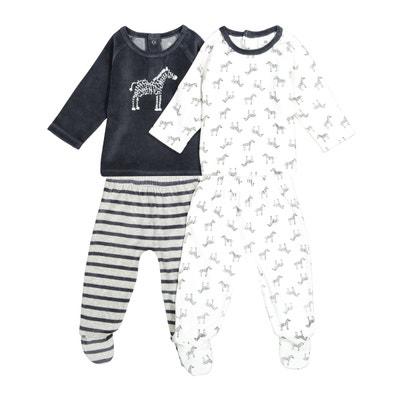 8924b951e51e7 Lot de 2 pyjamas velours thème zèbre