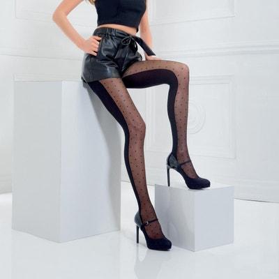 Collant fantaisie moitié opaque moitié plumetis noir Linda POMM POIRE ee2c0280c97