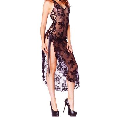 Nuisette longue noire lacée + string offert LEG AVENUE 0013ca55a6b