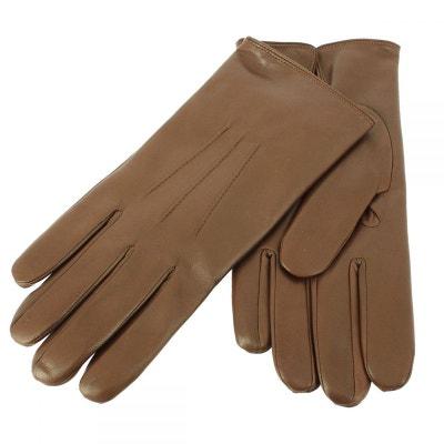 5f0f19e47916 Gants cuir Marron Noisette Luxe, Nappa-cachemire, fait main en Italie Gants  cuir