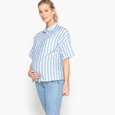 774265c27 Blusa de embarazo a rayas con pliegue detrás Blusa de embarazo a rayas con  pliegue detrás