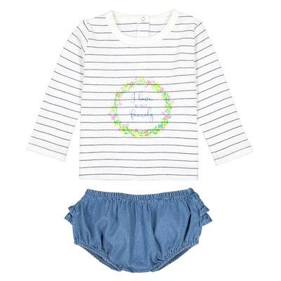 Ensemble bébé T-shirt et bloomer 0 mois - 3 ans LA REDOUTE COLLECTIONS 3f78d1252d1