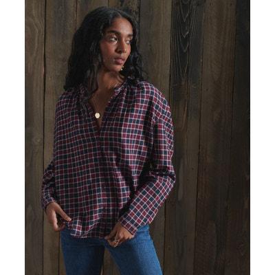 Femme Superdry Maya Oversize Chemise Rouge//carreaux gris taille S//UK 10